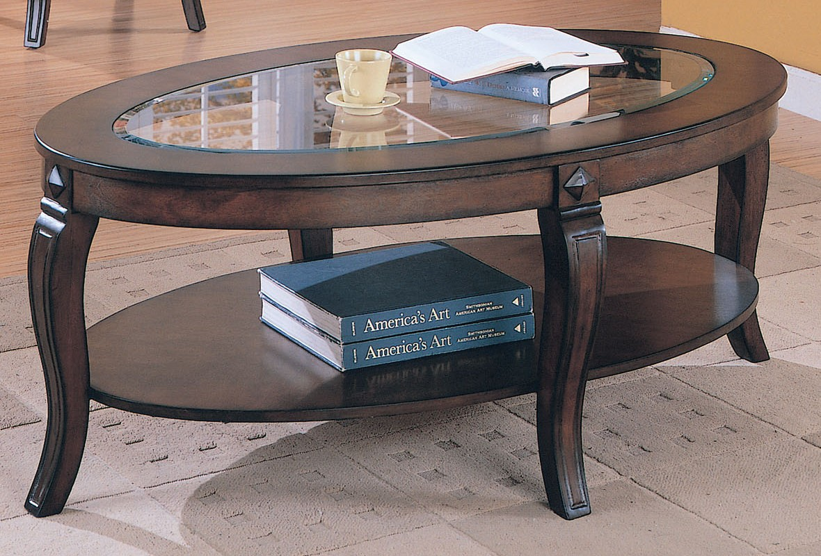 oval-glass-top-coffee-tables-Acme-Riley-Oval-Glass-Top-Coffee-Table-in-Walnut-00450 (Image 1 of 10)
