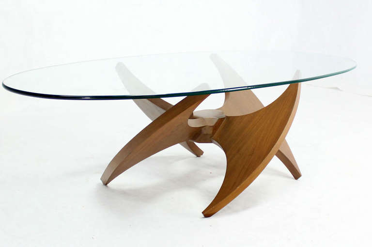 Oval Glass Top Coffee Tables Mid Century Modern Walnut Propeller Base Oval Coffee Table With Glass Top (View 8 of 10)
