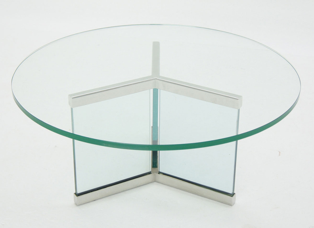 Pace Collection Round Glass And Chrome Modern Coffee Table Full Glass Round Coffee Table Contemporary Round Glass Coffee Table (Image 8 of 10)