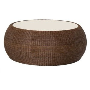 Palmetto All Weather Wicker Round Coffee Table Indoor Wicker Coffee Table Round Wicker End Table Interior Furniture 2016 (Image 4 of 10)