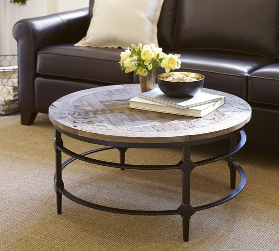 Parquet Reclaimed Wood Round Coffee Table Distressed Round Coffee Table Distressed Black Coffee Table (Image 6 of 10)