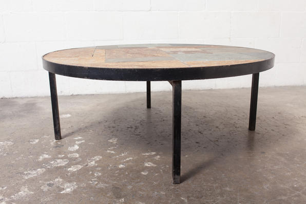 Paul Kingma Style Round Stone And Steel Coffee Table Round Stone Coffee  Table Stone And Glass