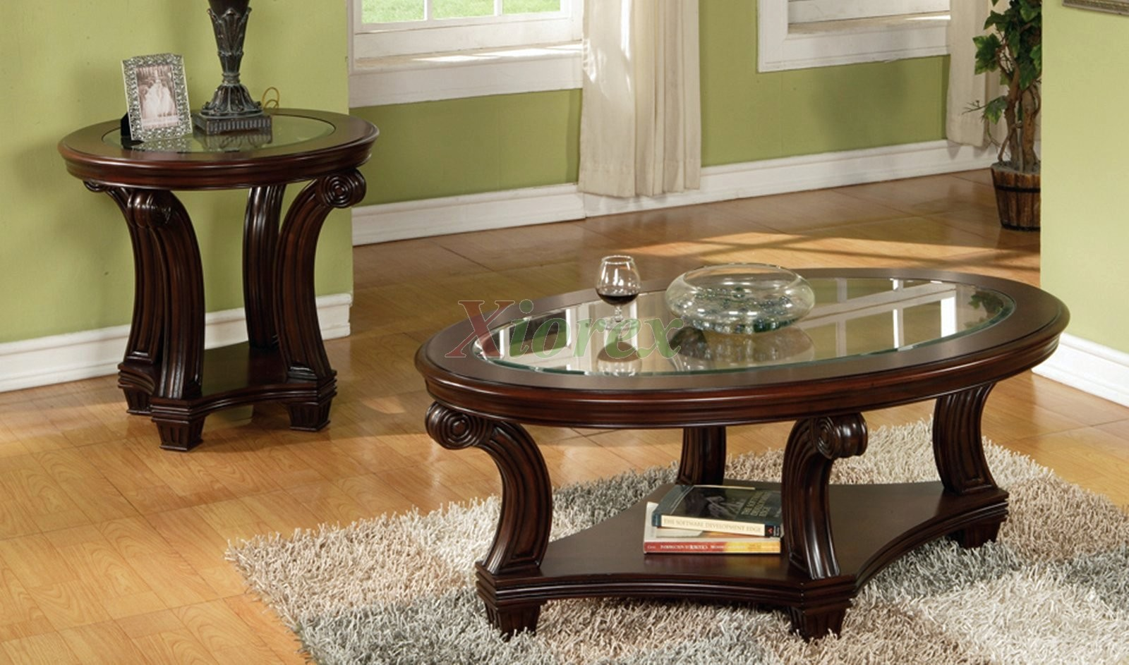 Perseus Glass Top Wooden Coffee Table Set Montreal Round Coffee And End Table Sets Dark Wood Round Side Tables (Image 7 of 10)