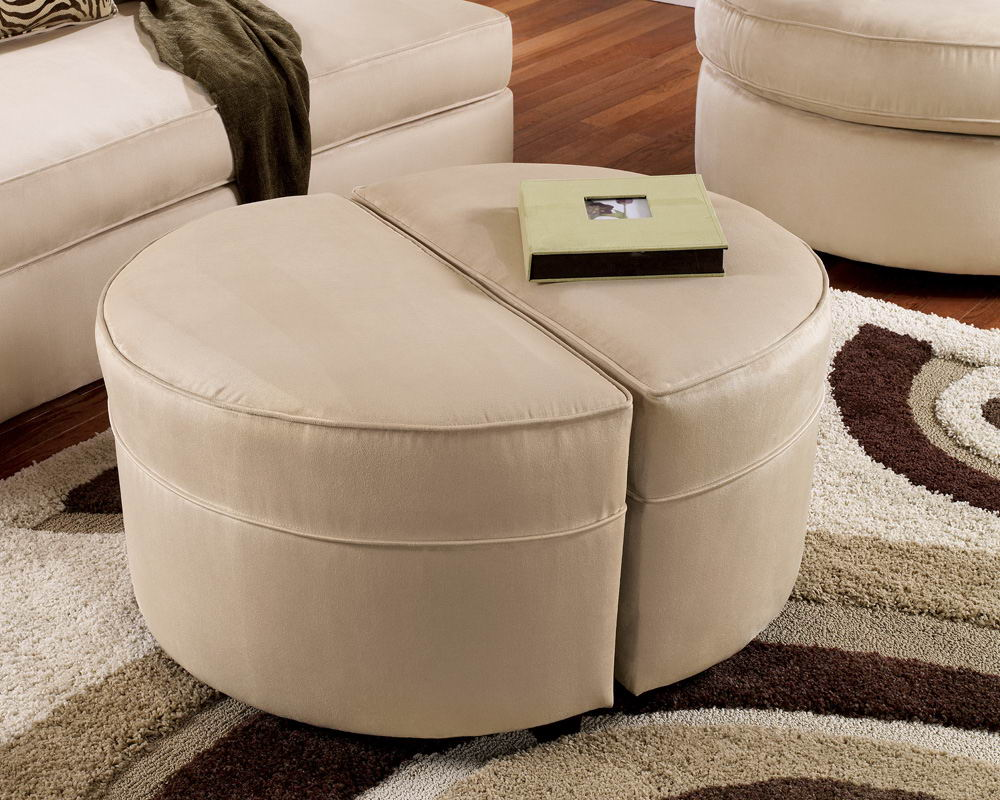 Photo Gallery Of The Exclusive Coffee Table Ottoman Ideas Small Round Ottoman Coffee Table Cream Round Ottoman (View 3 of 10)