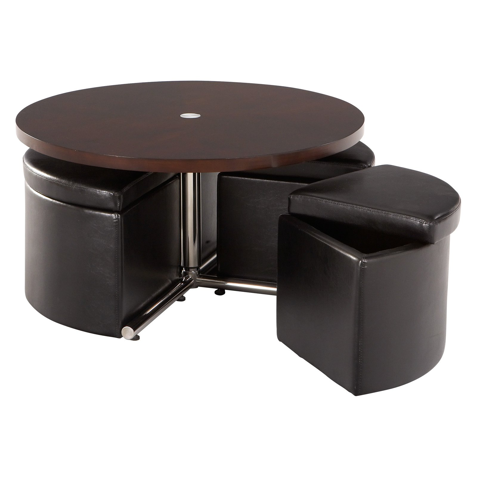 Photos Of The Round Coffee Table With Storage For Any Place And Occasion Black Seating Leather And Round Brown Stained Wood Coffee Table (Image 7 of 10)