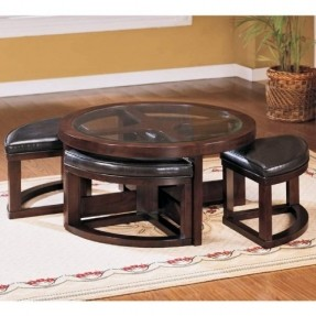 Pieces Coffee Table With 4 Ottomans Wedge Shaped Ottomans Fit Under Table Dark Cherry Finish Beveled Glass Top On Hardwood Base 40 Round Coffee Table (View 8 of 10)
