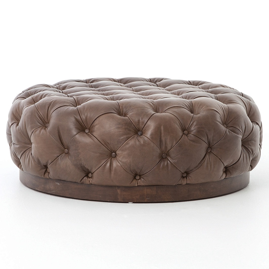 Plateau Round Tufted Leather Cocktail Ottoman Round Leather Ottoman Coffee Table Lanai Round Coffee Table 38 Inch (View 5 of 10)