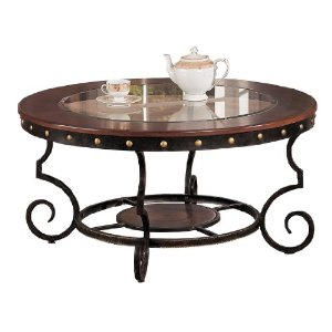 Poundex Firebird Series Coffee Table Round Glass And Rod Iron Finish Round Glass Top Coffee Table Wrought Iron (Image 5 of 10)