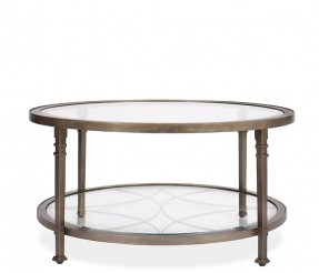 Ramona Coffee Table Constructed Of Metal And Glass The Ramona Round Tables Feature Tempered Round Glass And Metal Coffee Table (View 3 of 10)