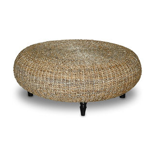 Rattan Coffee Table Round Decorative Tan Transitional Riau Round Coffee Table Rush Grass Knotwork Coffee Table Ottoman (Image 4 of 10)