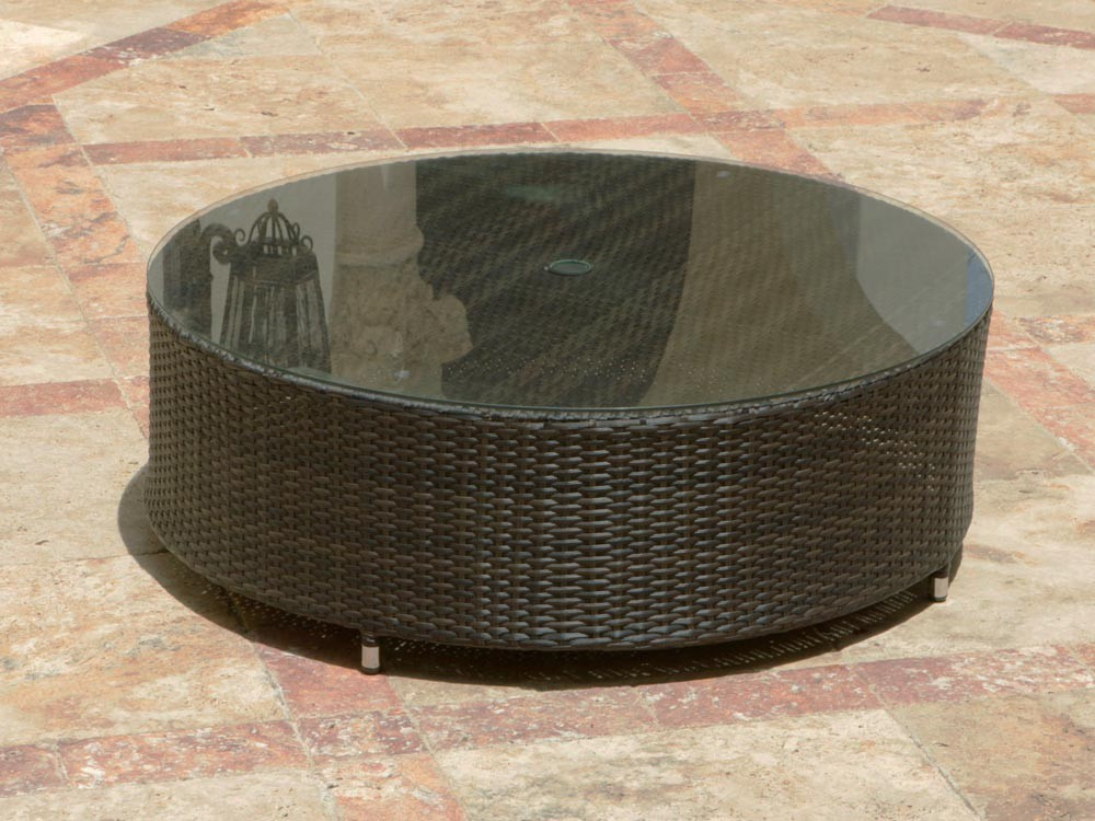 Rattan Coffee Table Round Is A Part Of Natural Rattan Coffee Table Rattan Coffee Table Round Round Coffee Table With Glass Dark Brown Color (Image 5 of 10)