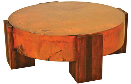 reclaimed-round-copper-coffee-table-round-copper-coffee-table-copper-and-reclaimed-wood-coffee-table-copper-top-cocktail-table (Image 5 of 10)