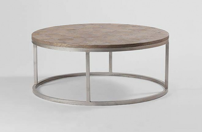 Reclaimed Wood Coffee Table Round Round Metal Coffee Tables Simple Metal Chrome Round Legs Coffee Table (Image 3 of 10)
