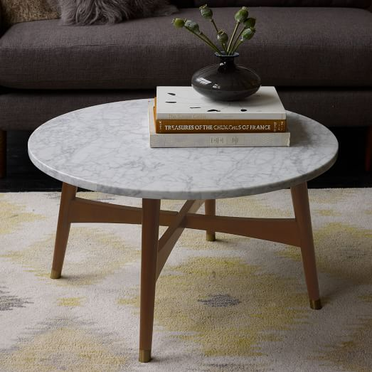 reeve-mid-century-coffee-table-small-round-white-marble-with-4-legs-from-wooden-coffee-table-round-marble-coffee-table (Image 6 of 10)