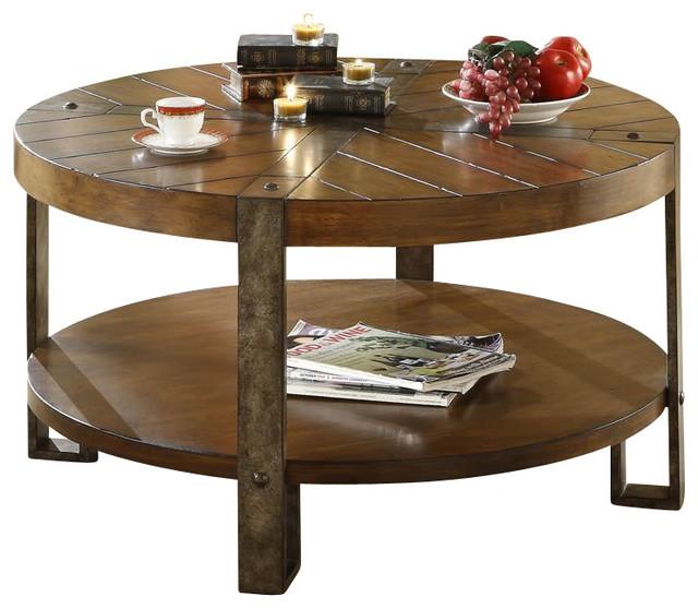 Riverside Furniture Sierra Round Cocktail Table In Landmark Worn Oak Brown Round Coffee Table Design Furniture (View 8 of 10)