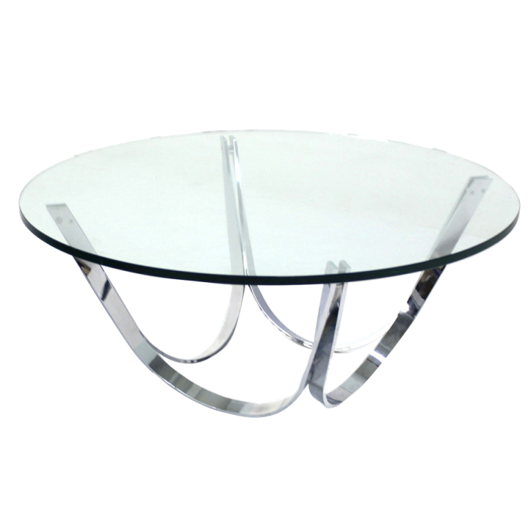 Roger Sprunger For Dunbar Chrome And Glass Coffee Table Mid Century Modern Contemporary Round Glass Coffee Table (Image 9 of 10)