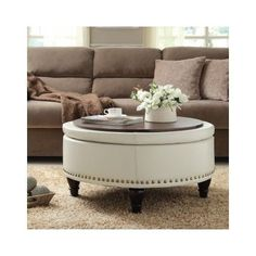 Round Bassett Ottoman Bonded Leather Storage Sofa Couch Footstool Stool Seat Den Round Coffee Table With Storage Ottomans (Image 5 of 10)
