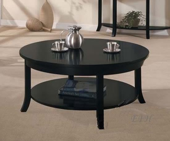 Round Black Coffee Table Black Wood Round Coffee Table Black Simple Wooden Stained Round Coffee Table Design (Image 6 of 10)