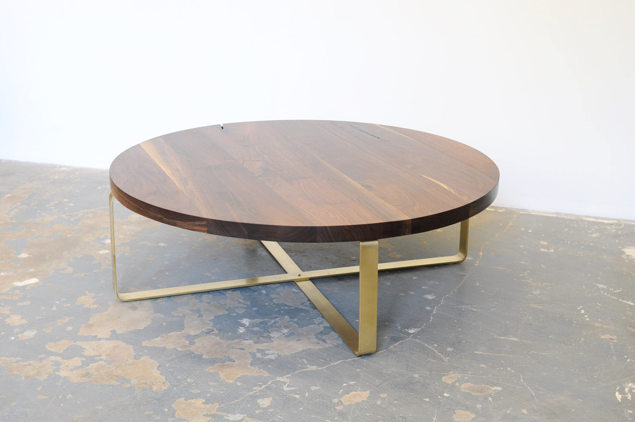 2017 Popular Round Brass Coffee Table with Glass Top