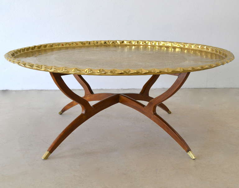 round-brass-coffee-table-round-brass-tray-top-coffee-table-brass-top-coffee-table-large-round-brass-coffee-table (Image 10 of 10)