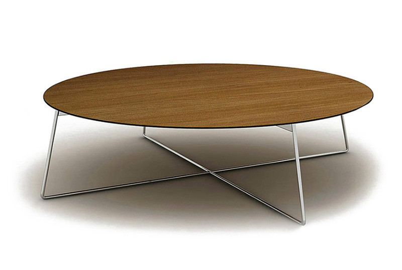 Round Brown Simple Lacquered Wooden Coffee Table Modern Round Coffee Tables Stainlees Steel Chrome Foot Table (Image 9 of 10)