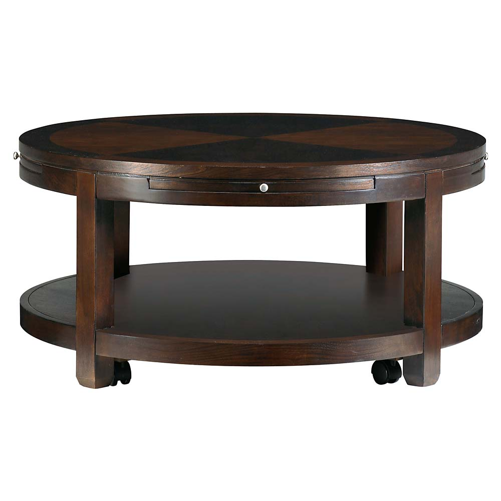 Round Coffee And Cocktail Coffee Table With Shelves Round Cocktail Table Round Wooden Coffee Table With Drawers (Image 7 of 10)