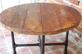 round-coffee-table-industrial-wood-table-30-x-20-reclaimed-wood-furniture-rustic-table-w-pipe-legs-free-shipping (Image 7 of 9)
