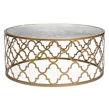 Round Coffee Table Iron Frame Gold Stained Ideas Gaultier Round Coffee Table (Image 3 of 10)