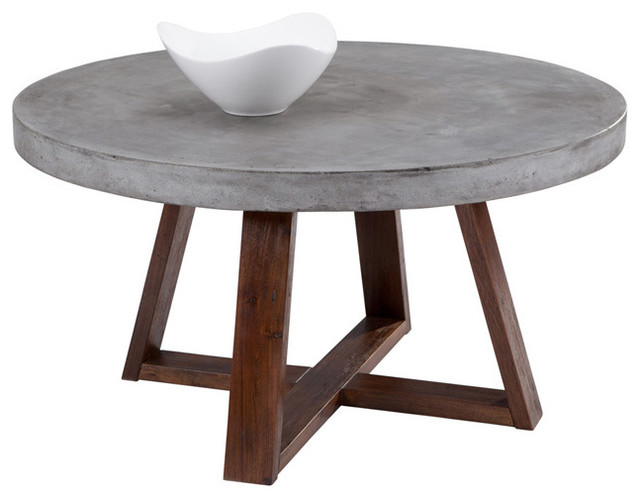 Round Coffee Table Rustic Sunpan Devons Rustic Concrete Round Coffee Table Scandinavian Coffee Tables (View 6 of 10)