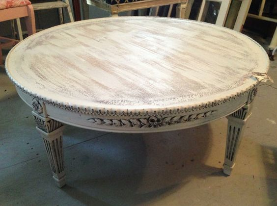 Round Coffee Table Shabby White Ivory Distressed Finish Painted Furniture Round Coffee Tables Distressed Round Coffee Table (Image 7 of 10)