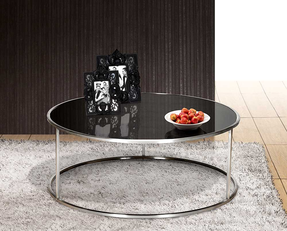 Round Coffee Table To Accommodate Drinks In Living Room Round Coffee Table Modern Modern Black Glass Round Coffee Table With Metal Leg (Image 9 of 10)