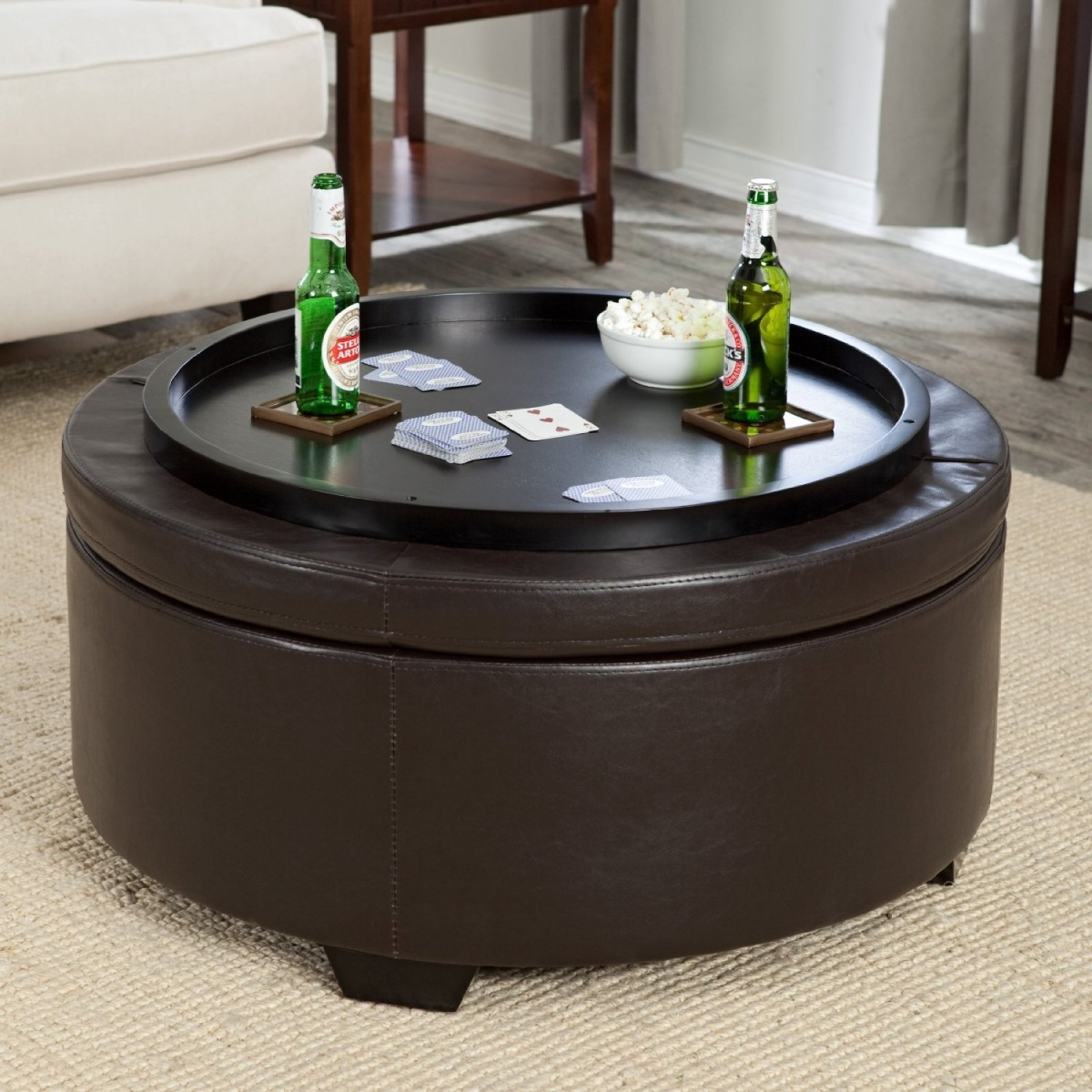 Round Coffee Table With Ottomans Round Coffee Table With Ottomans With Beers And Playing Card (View 8 of 8)
