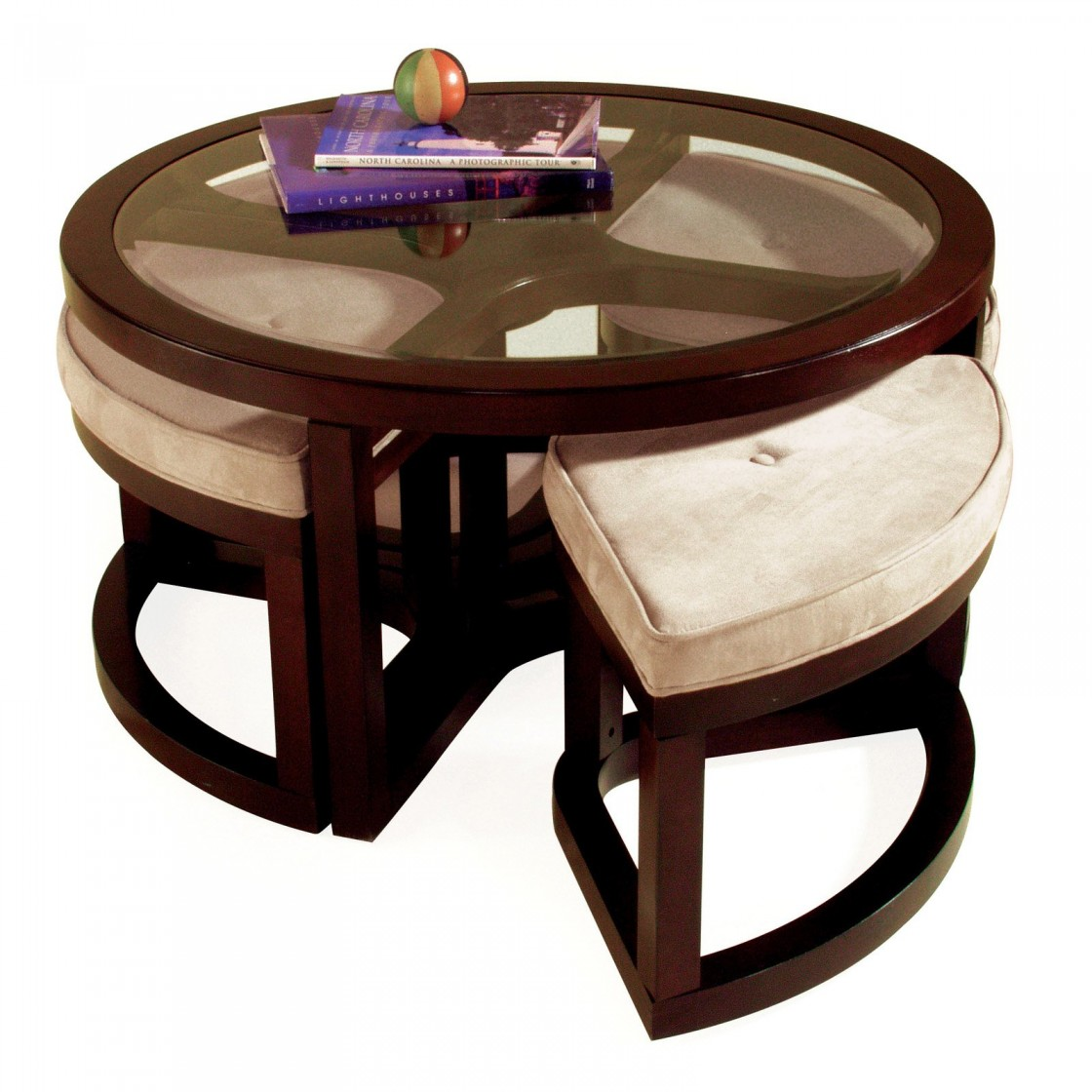 Round Coffee Table With Seating Underneath Round Coffee Table With Ottomans Underneath Cocktail Table With Seating Underneath (Image 7 of 10)