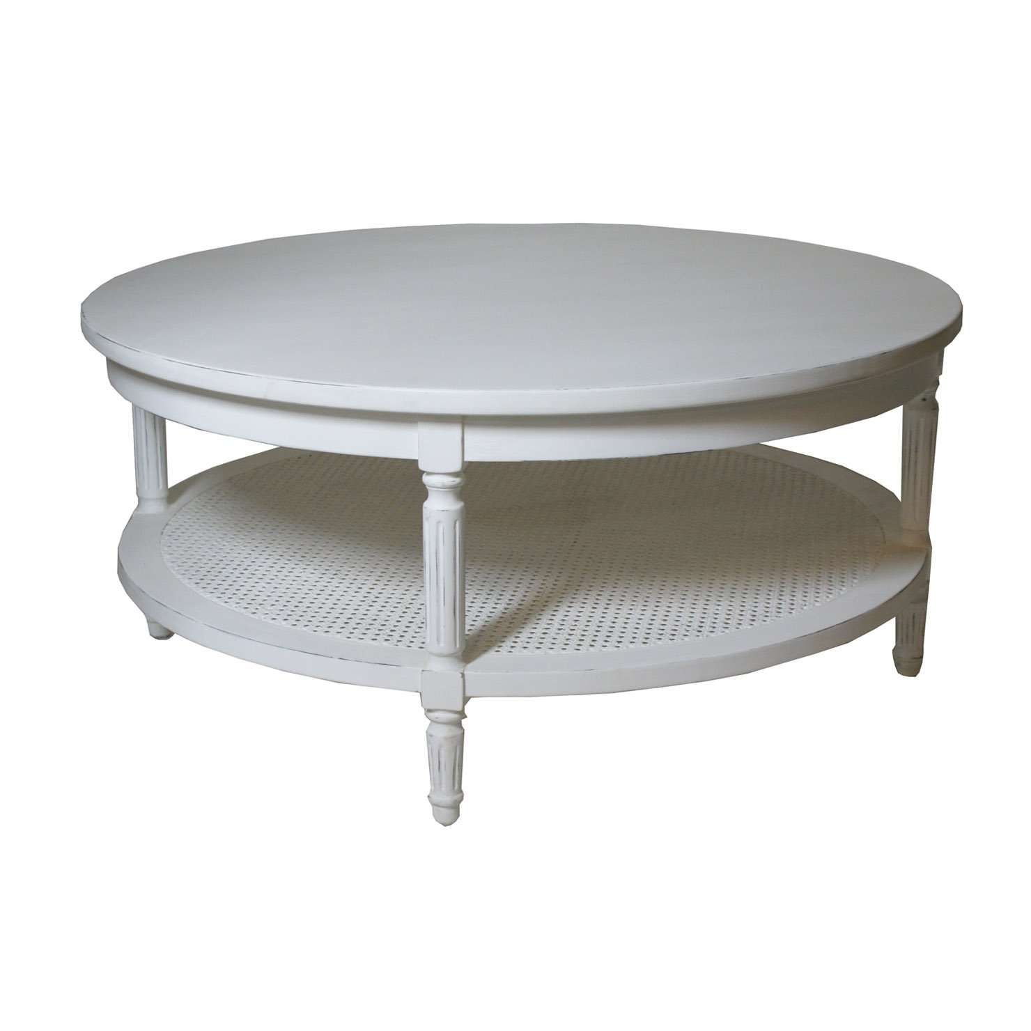 Round Coffee Table With Shelf White Vintage Round Wooden White Stained Coffee Table Furniture Round White Coffee Table Interior (Image 4 of 10)