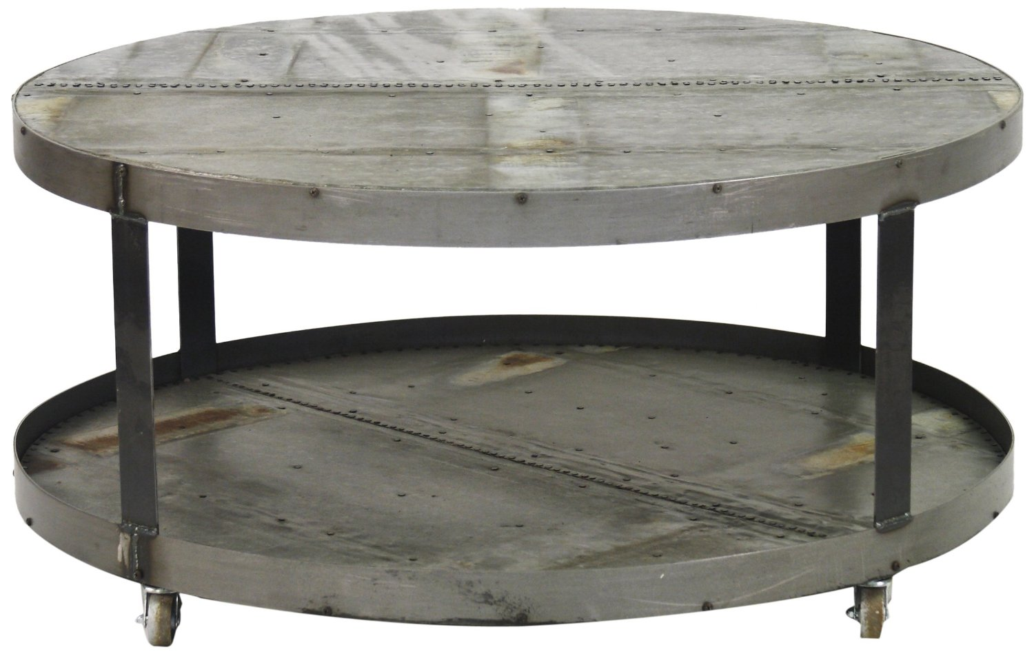 Round Coffee Table With Wheels Coffee Table On Wheels Zentique Recycled Metal Round Coffee Table With Wheels (Image 6 of 10)