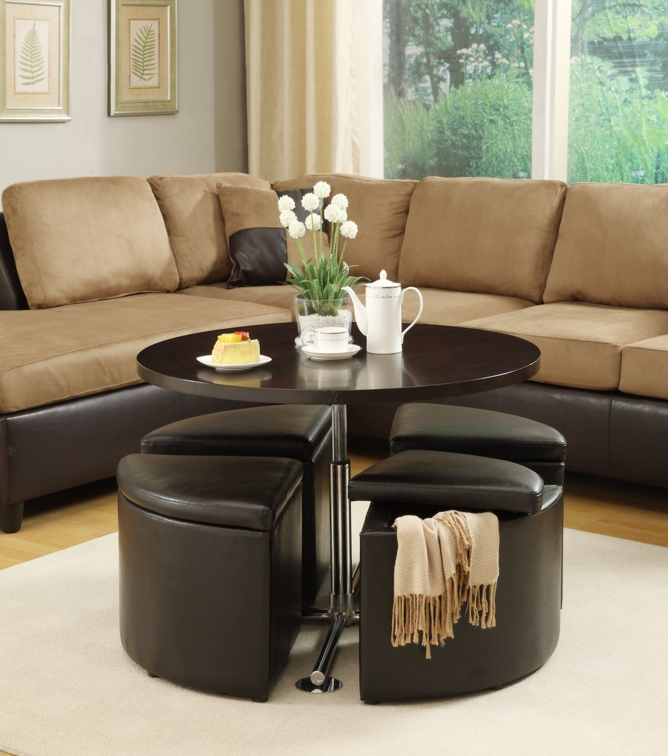 Pleasant Round Coffee Table With Ottoman Chairs Home Decor Ideas Caraccident5 Cool Chair Designs And Ideas Caraccident5Info