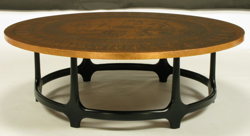 round-copper-coffee-table-round-copper-leaf-relief-and-ebonized-walnut-coffee-table-copper-top-tables-for-sale (Image 6 of 10)