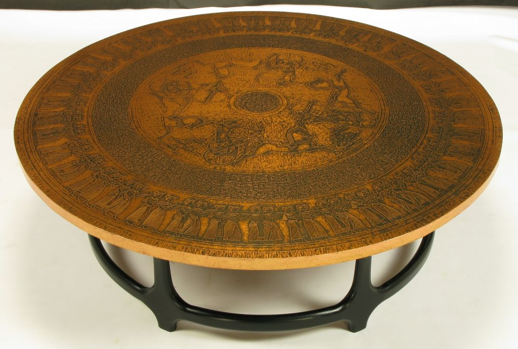 round-copper-coffee-table-round-copper-leaf-relief-and-ebonized-walnut-coffee-table-image-square-copper-coffee-table (Image 7 of 10)
