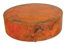 round-copper-coffee-table-with-variations-of-rich-colors-shallow-hammered-surface-and-rounded-edges-suitable-for-indoor-and-outdoor (Image 8 of 10)