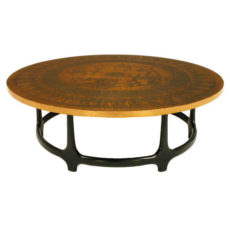 round-copper-leaf-relief-and-ebonized-walnut-coffee-table-image-round-copper-coffee-table-copper-top-round-coffee-tables (Image 9 of 10)
