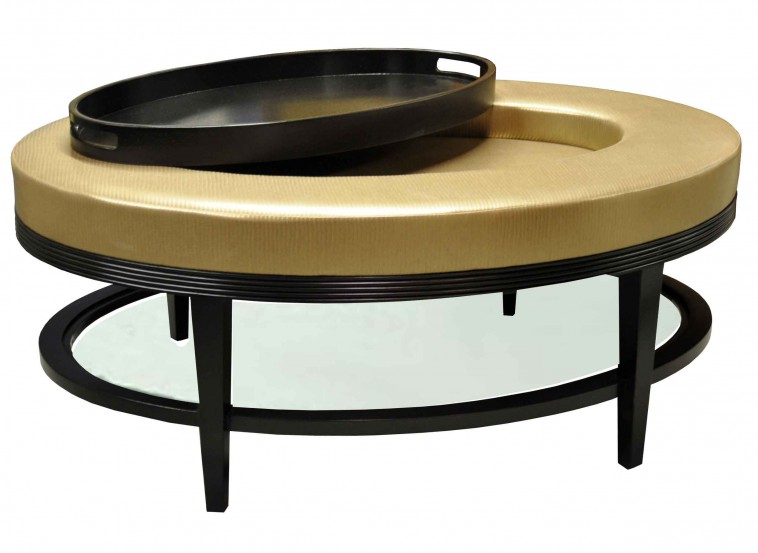 Round Cream Leather Storage Ottoman Coffee Table Black Round Ottoman Coffee Table Round Coffee Tables Ottomans Black And Brown (Image 9 of 10)