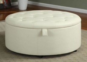 Round Fabric Storage Ottoman Coffee Table Eidolonai Round Fabric Storage Ottoman Coffee Table (Image 6 of 9)