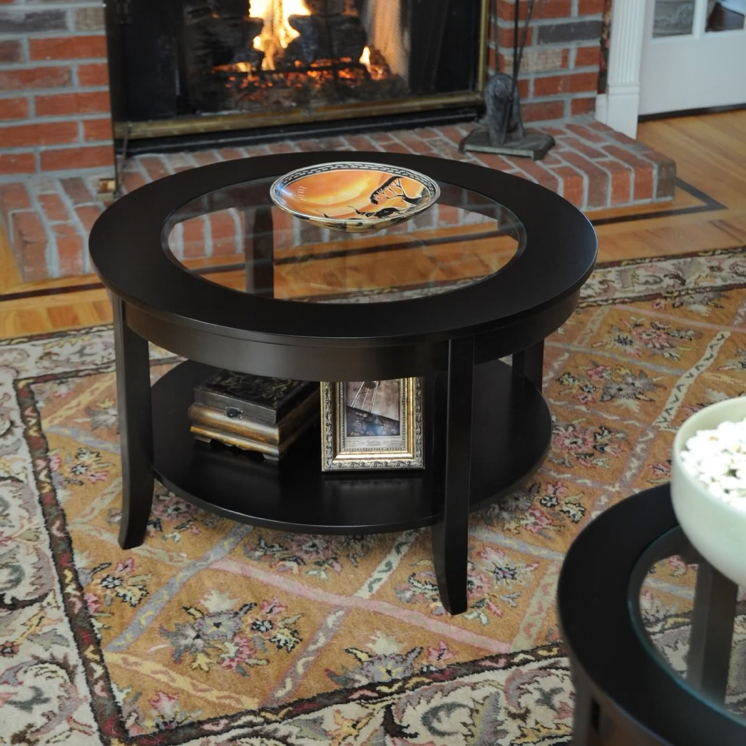 2017 Popular Small Round Glass and Wood Coffee Table