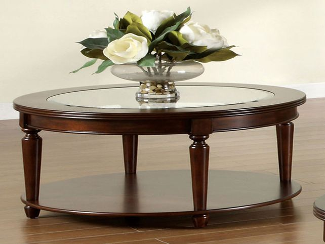 Round Glass And Wood Coffee Table Round Wood Coffee Table With Glass Top Round Wooden Coffee Tables (Image 6 of 10)