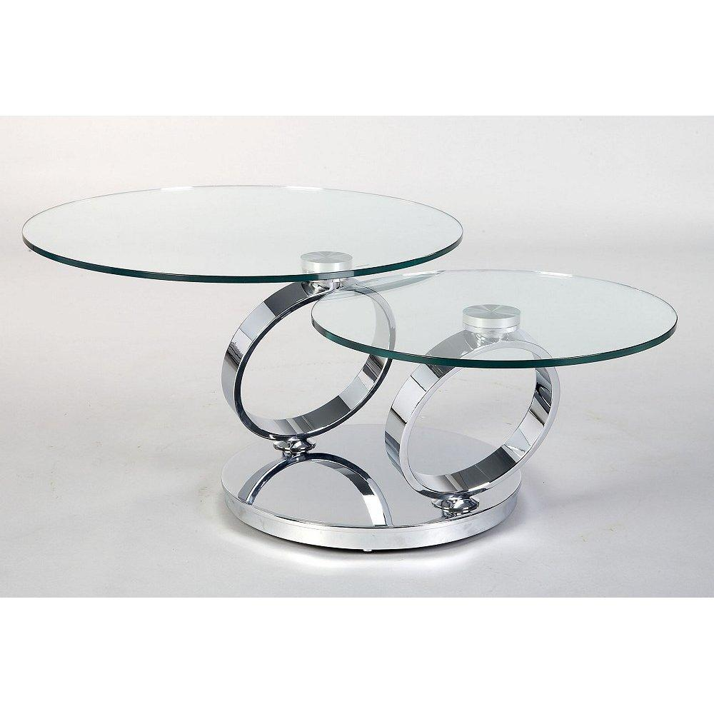 Round Glass Coffee Table Metal Base Living Room Furniture Unique Coffee Table With Two Round Glass Top And Circle Chrome Metal Base Round Coffee Table With Chrome Metal (Image 3 of 10)