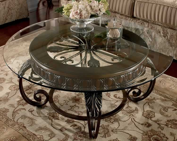 Round Glass Coffee Table Metal Base Luxury Round Glass And Brown Stained Wood Coffee Table At Living Room (View 4 of 10)