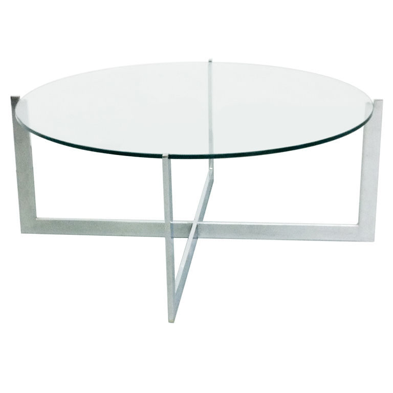 Round Glass Coffee Table Metal Base Minimalist Silver Stainless Steel Foot Tables