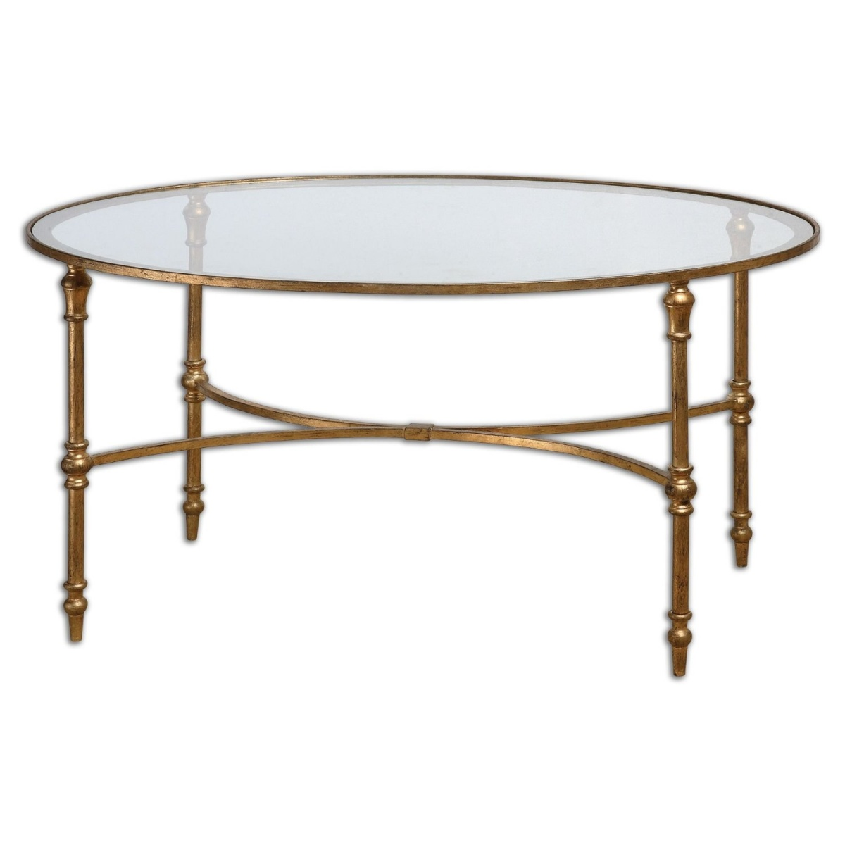 Round Glass Coffee Table With Iron Legs And Frame Is A Good Material Combination Gold Round Glass Coffee Table Round Glass And Metal Coffee Table (Image 6 of 10)