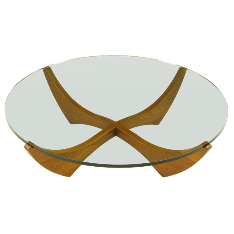 Round Glass Top Coffee Table With Sculpted Round Glass Top Coffee Table With Wood Base Round Glass Coffee Table Wood Base (Image 5 of 10)