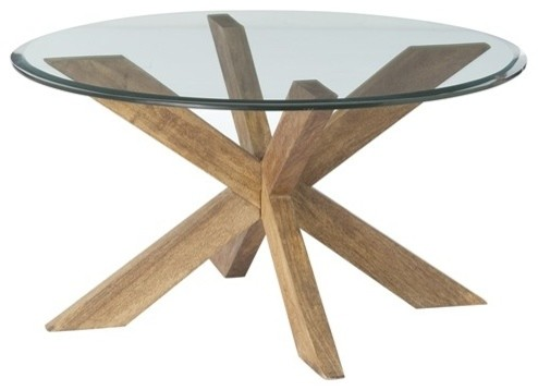 Round Glass Top Coffee Table With Wood Base Gwenieve Cocktail Table By Arteriors Home Transitional Coffee Tables (View 7 of 10)